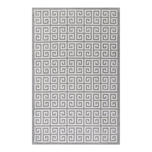 Buy Selman Greek Key White/Light Gray Area Rug Mercer41