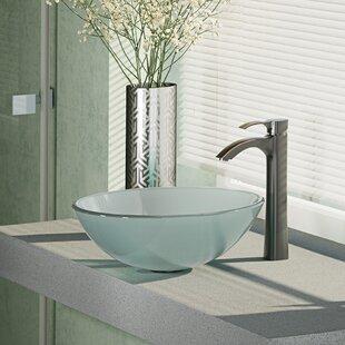 Best Price Glass Circular Vessel Bathroom Sink with Faucet ByRené By Elkay