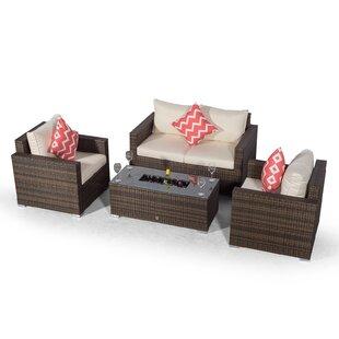 Villatoro Brown Rattan 2 Seat Sofa + 2 X Armchairs & Ice Bucket Rectangle Coffee Table, Outdoor Patio Garden Furniture Image