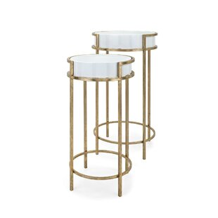 Wentworth Metal and Glass 2 Piece Tray Table Set by Mercer41