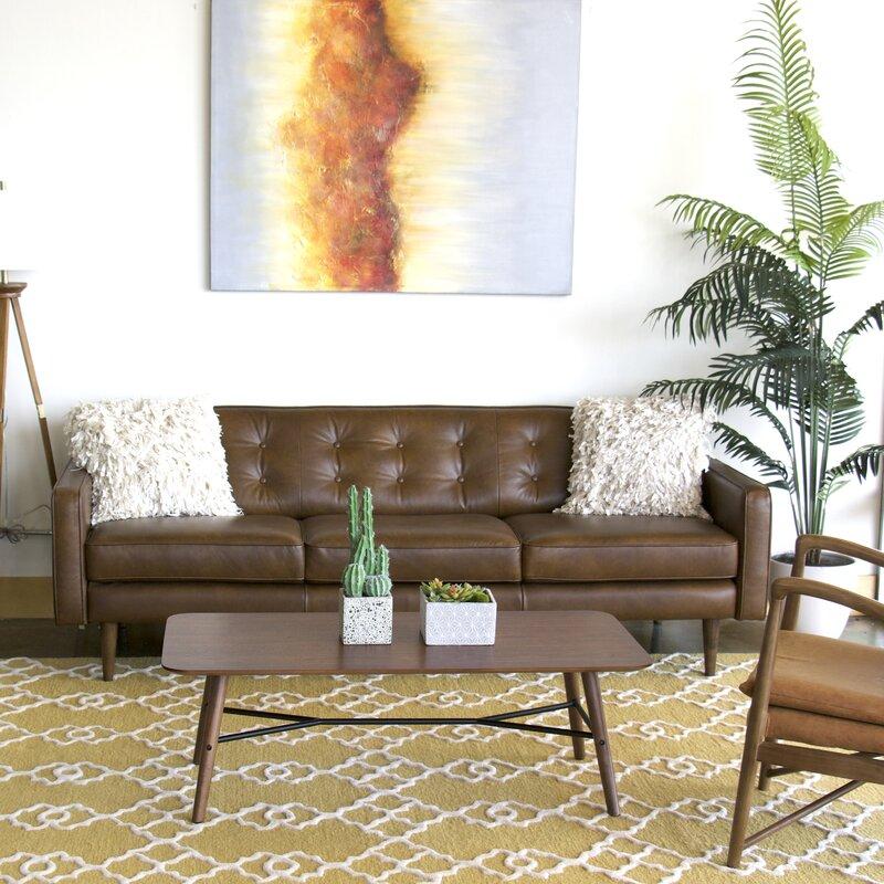 Great Trevor Mid Century Modern Leather Sofa