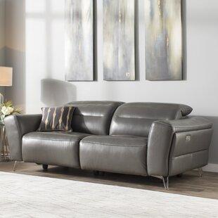 Orren Ellis Paille Leather Reclining Sofa