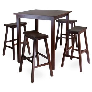 Auburn Road 5 Piece Dining Set with 4 Saddle Seat Stools by Red Barrel Studio