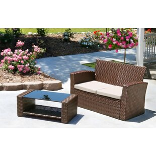 Hope 2 Piece Rattan Sofa Set with Cushions