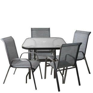 Hanah 5 Piece Mesh Outdoor Patio Dining Set