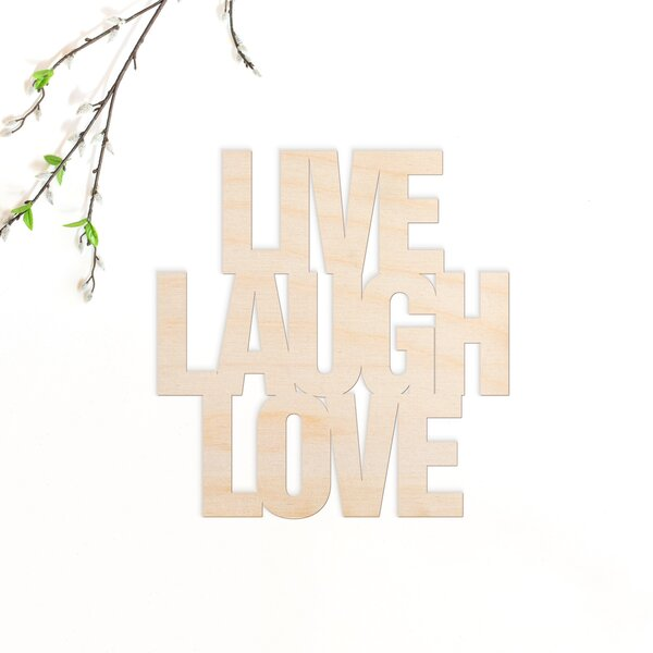 Large Wooden Plaque Live Love Laugh 36 X 7 Inches Word Art