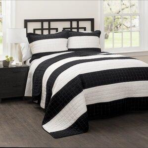Hamilton 100% Cotton Quilt Set. Navy/White