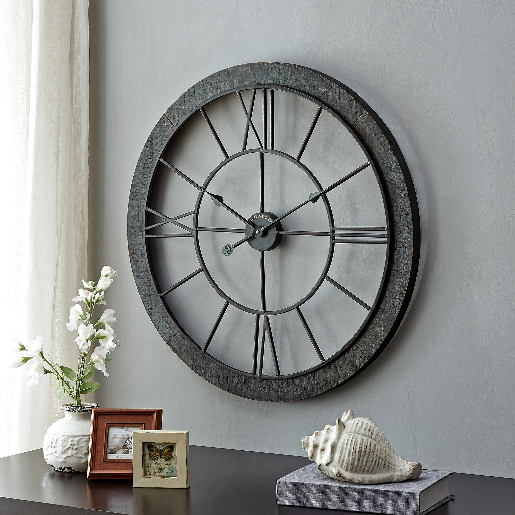 Gracie Oaks Oversized Elsner 26 Wall Clock Reviews Wayfair
