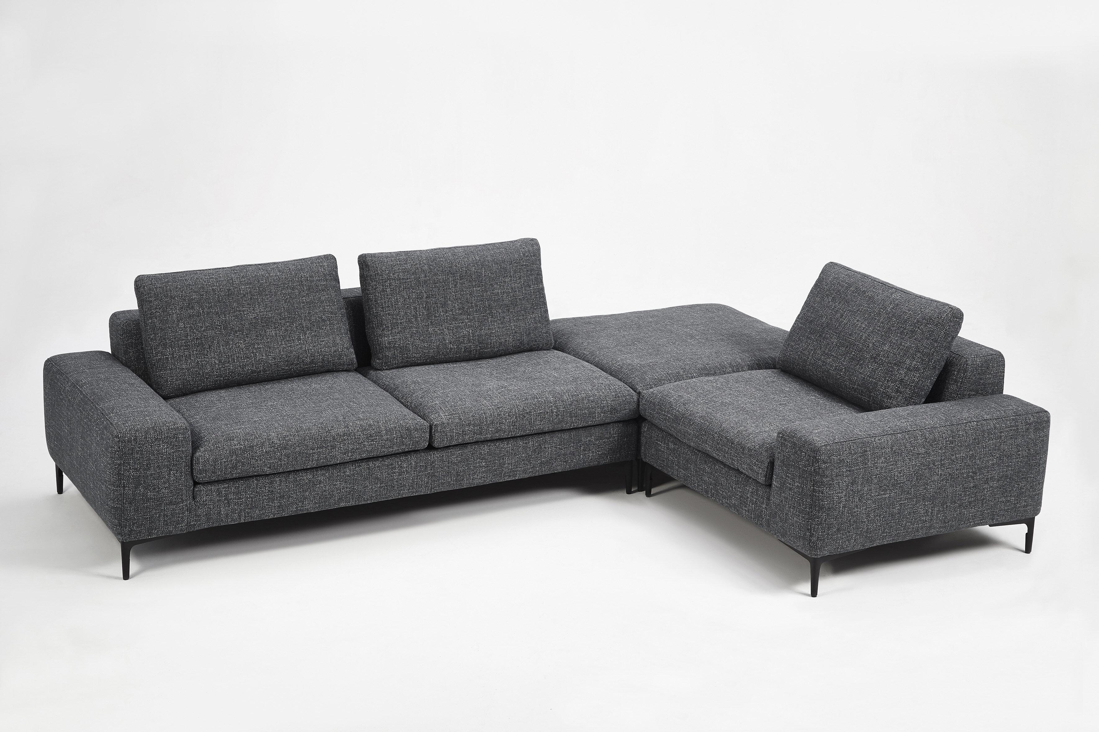 Miraculous Whitney Right Hand Facing Modern Modular Sectional With Ottoman Uwap Interior Chair Design Uwaporg