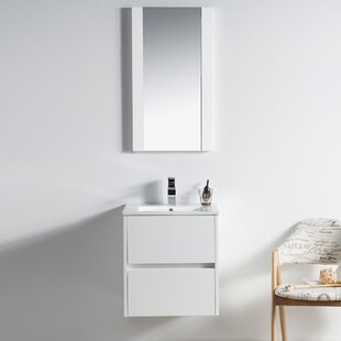 Oquendo 20 Wall-Mounted Single Bathroom Vanity Set with Mirror By Orren Ellis