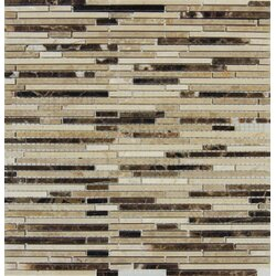 emperador mounted random sized marble mosaic tile in brown - Marble Mosaic Tile