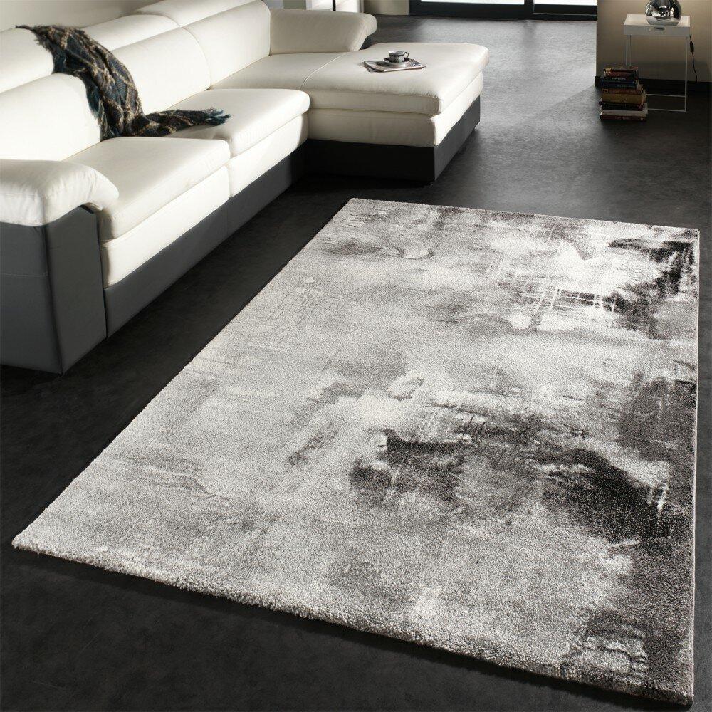 Loftdesigns Teppich Saunders In Grau Schwarz Weiss Bewertungen Wayfair De