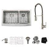Kitchen Combos 36 L x 21 W Double Basin Farmhouse/Apron Kitchen Sink with Faucet