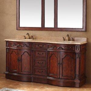 Blue Hills 72″ Double Cherry Travertine Top Bathroom Vanity Set