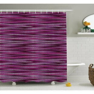 Vintage Knit Pattern Featured Variations of Tone Nostalgic Vivid Art Shower Curtain Set