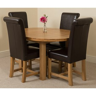 Soejima Solid Oak Dining Set With 4 Washington Chairs By Rosalind Wheeler