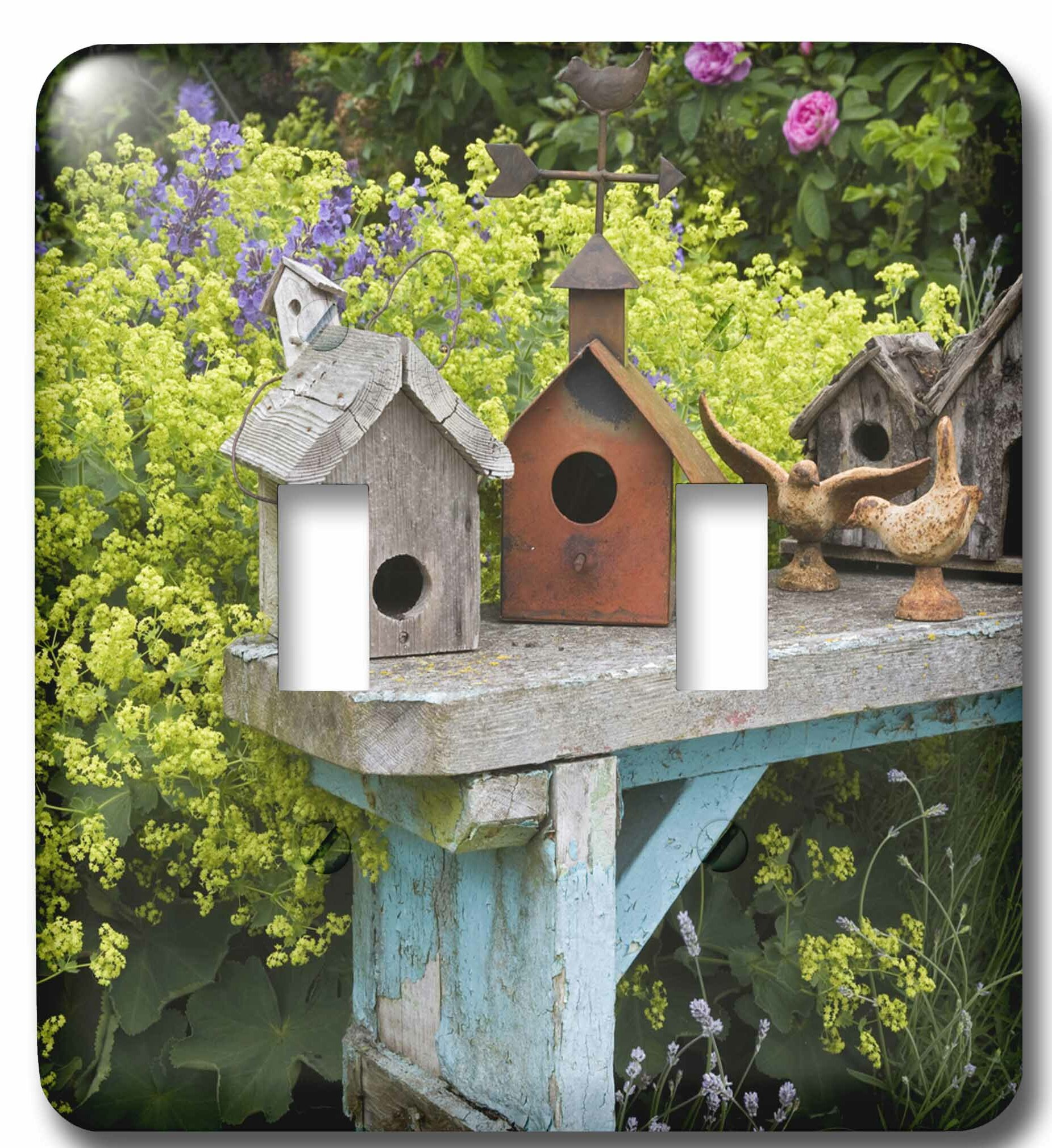 3drose Bird Houses On Bench In Garden 2 Gang Toggle Light Switch Wall Plate Wayfair