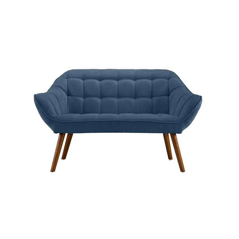 Turn on the Brights  Herrald Modern Tufted Loveseat Upholstery: Blue