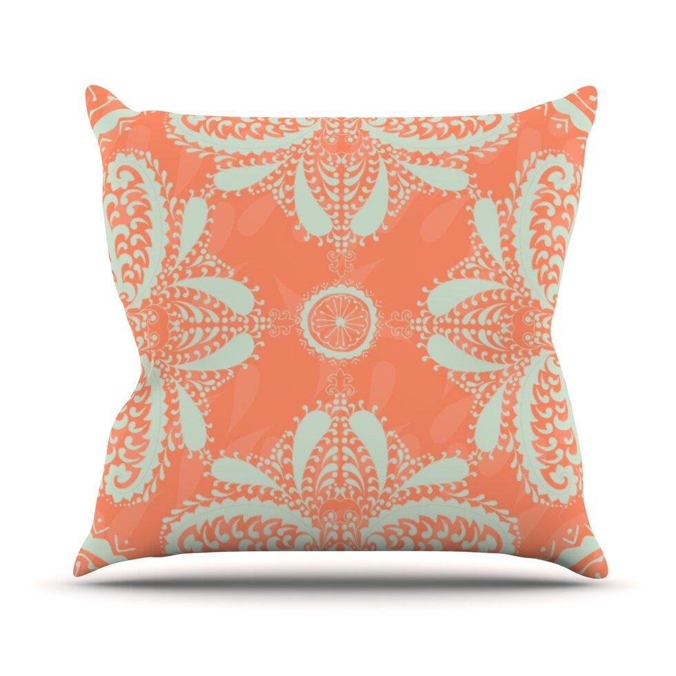 Kess InHouse Nandita Singh Blue Motifs Throw Pillow Aqua Geometric 16 by 16