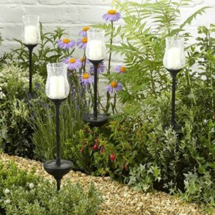 Hargett Large Solar Glass Candle Stake 1-Light LED Pathway Light (Set Of 4) By Sol 72 Outdoor