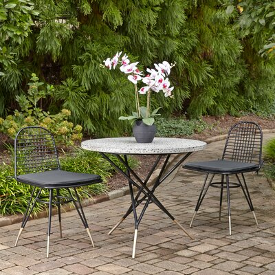 Oswestry Cast Aluminum Outdoor 3 Piece Bistro Set With Cushions by Ivy Bronx 2020 Sale