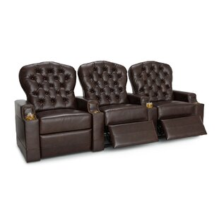 Leather Home Theater Row Seating (Row of 3) by Red Barrel Studio