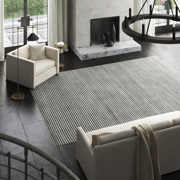 Exquisite Rugs Vive Striped Hand Knotted Wool Silk Gray Black Area Rug Perigold