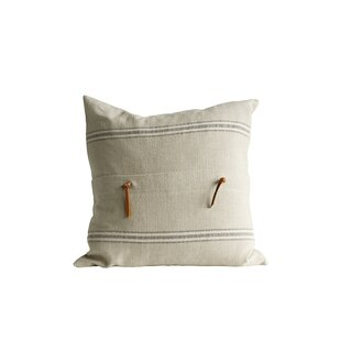 Bartlette Leather Trim Cotton Throw Pillow