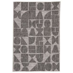 Zulu Jaipur Living Geometric Gray/Black Indoor/Outdoor Area Rug