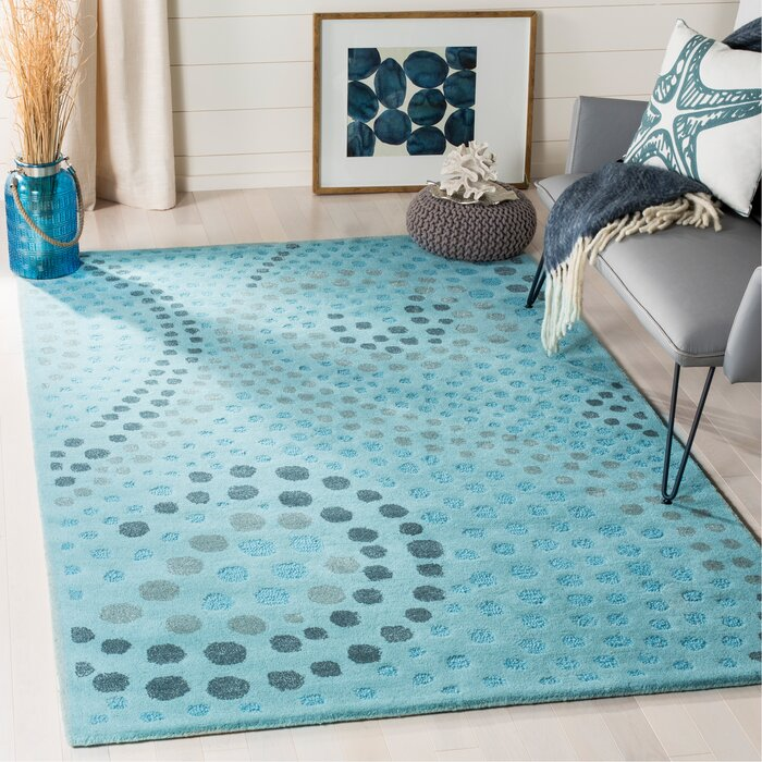 Arber Hand Tufted Wool Light Blue Gray Area Rug