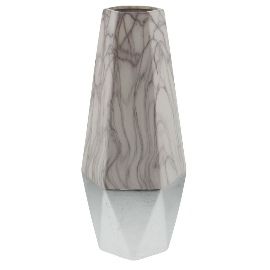 Bloomsbury Market Osmond Brown And White Ceramic Floor Vase Wayfair
