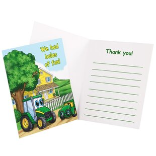 John Deere- Johnny Tractor Thank You Paper Disposable Notes (Set of 8)