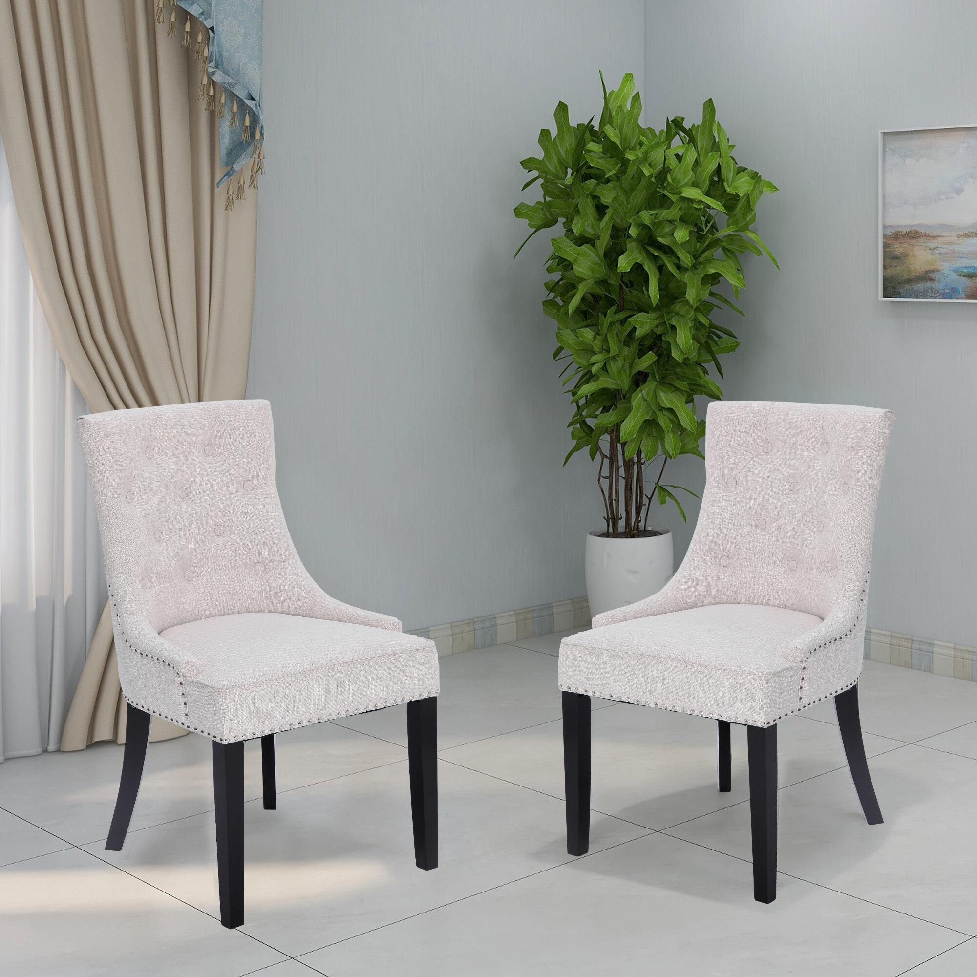 Alcott Hill Charlack Tufted Linen Upholstered Parsons Chair Reviews Wayfair