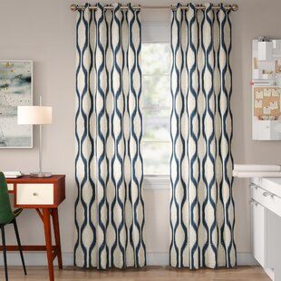 Valdovinos Geometric Room Darkening Grommet Single Curtain Panel by Mercury Row