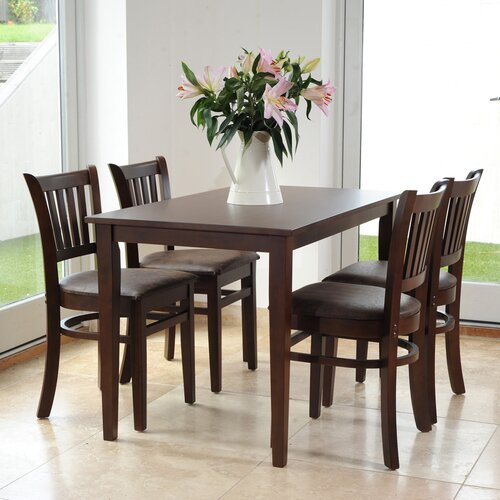 Keira Dining Set with 4 Chairs Ophelia and Co. Colour: Dark