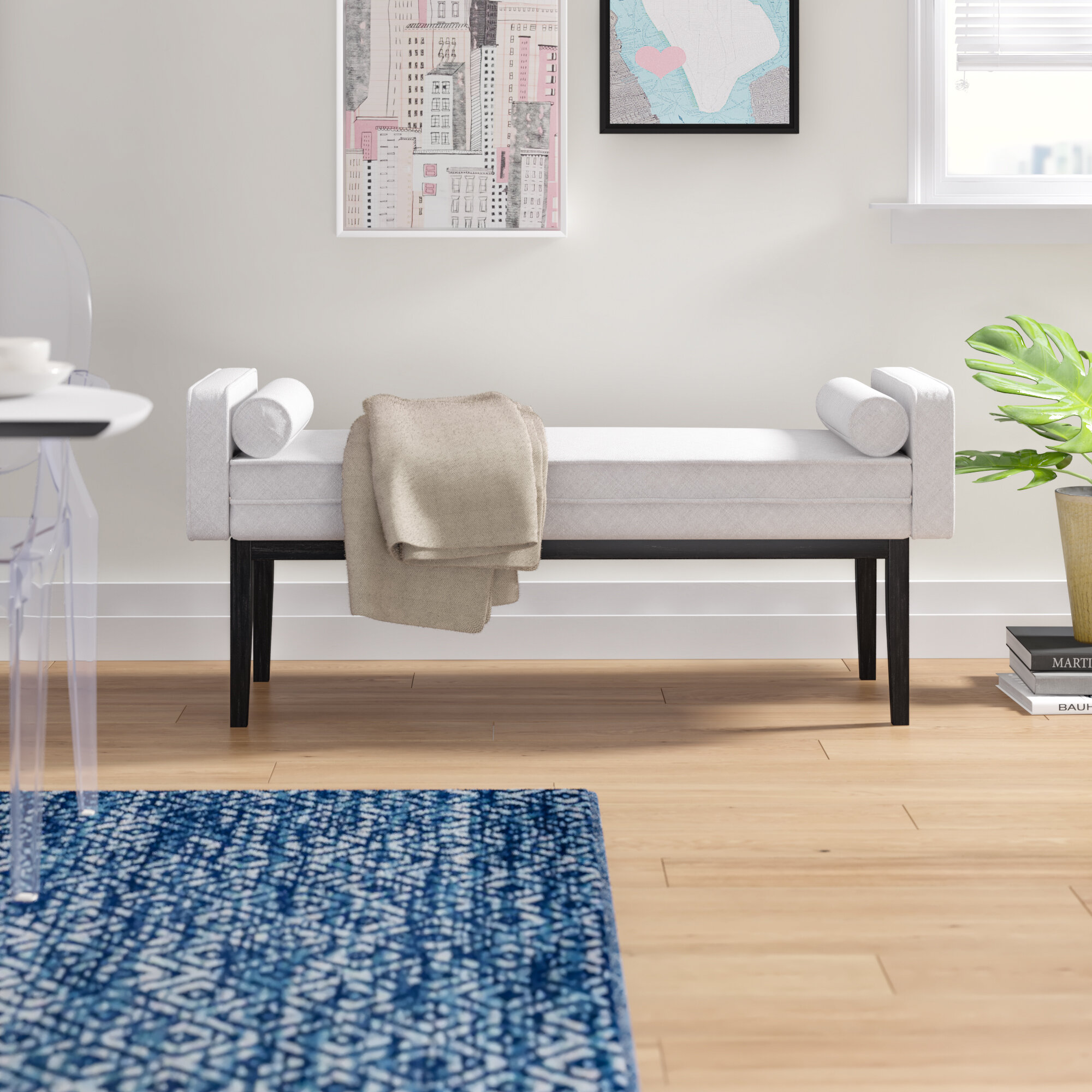 Schulenburg Upholstered End Of Bed Bench In Natural White