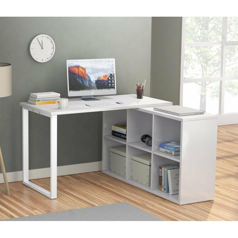 Merveilleux Britni Modern Corner L Shape Desk With 6 Storage Unit Combo