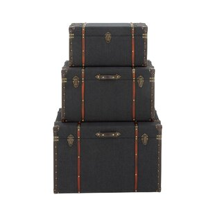 Cobb Wood and Fabric 3 Piece Trunk Set