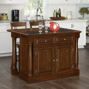 Giulia Kitchen Island Set with Granite Top by Laurel Foundry Modern Farmhouse