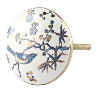 Bird Floral Ceramic Mushroom Knob