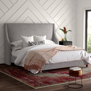 Maser Swoop Arm Wingback Upholstered Panel Bed