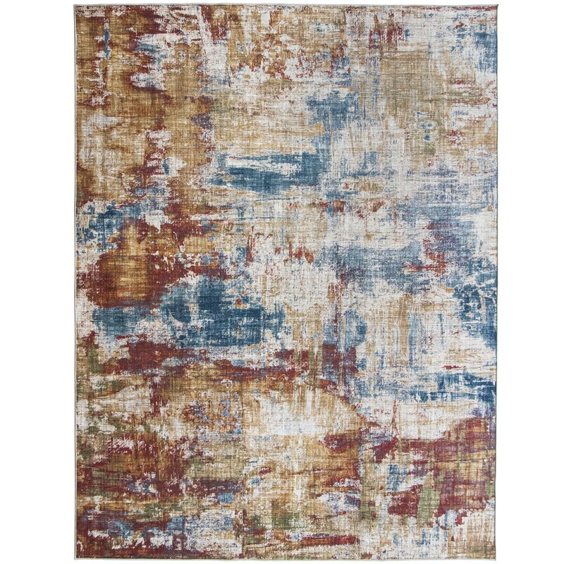 17 Stories Lennie Abstract Flatweave Red Blue Area Rug Wayfair