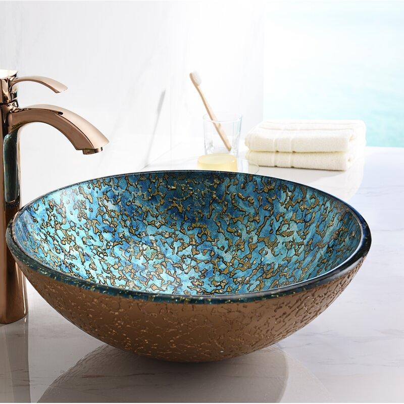 Anzzi Makata Gold Cyan Mix Tempered Glass Circular Vessel Bathroom Sink Wayfair
