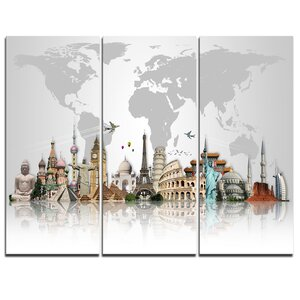 Famous Monuments Across World - 3 Piece Graphic Art on Wrapped Canvas Set