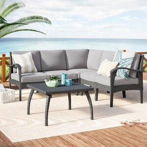 Townsend V-Shape 6 Piece Sectional Seating Group with Cushion
