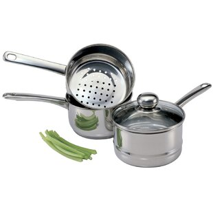 4 Piece 2 qt. Steamer and Boiler Set with Lid
