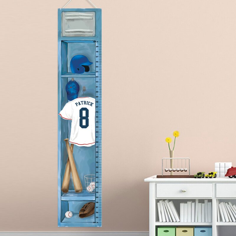 Oopsy Daisy Baseball Locker Growth Chart by Jones Segarra 12 by 42-Inch