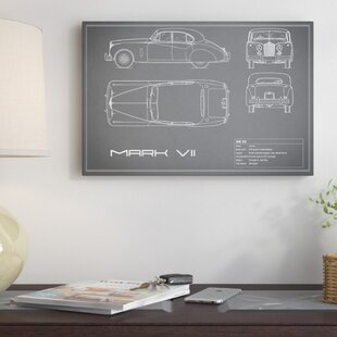 'Jaguar Mark VII' Graphic Art Print on Canvas in Gray ByEast Urban Home
