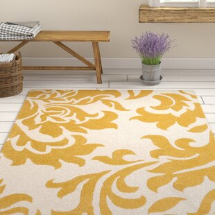 Online Reviews Kiesel Hand-Tufted Gold/Off-White Area Rug By Ophelia & Co.