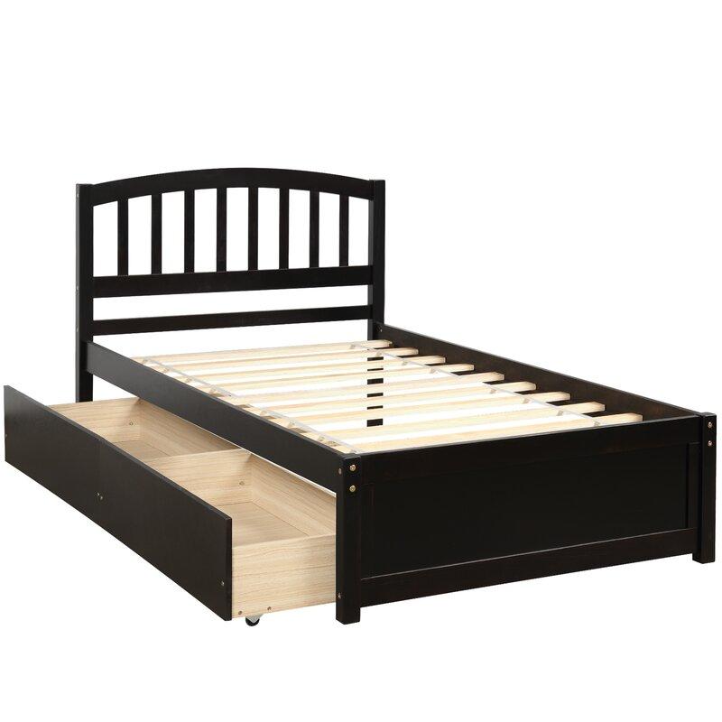 Wood Twin Storage Platform Bed